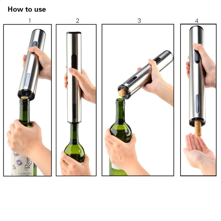 iTECHOR Battery Operated Electric Wine Bottle Opener Automatic Wine Opener WO-103A - Silver