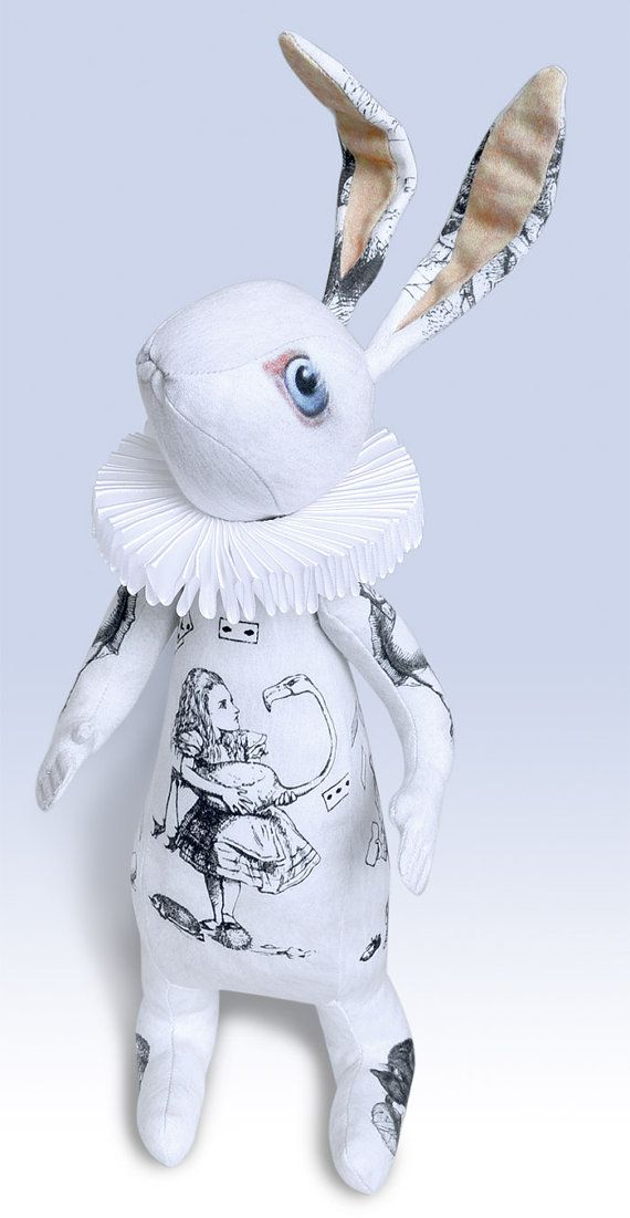 The White Rabbit Alice Toile doll with ruff. by BabaStudioPrague, $175.00