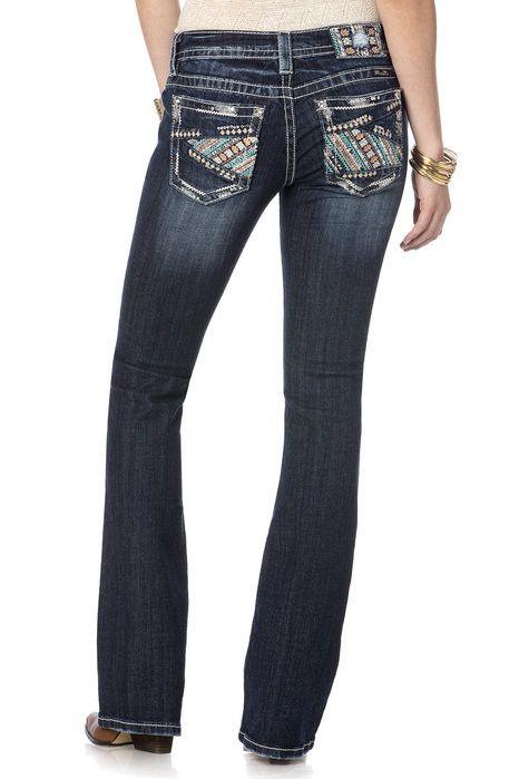 MissMe Women's Pierced Floral Stitchery Boot Cut Jeans