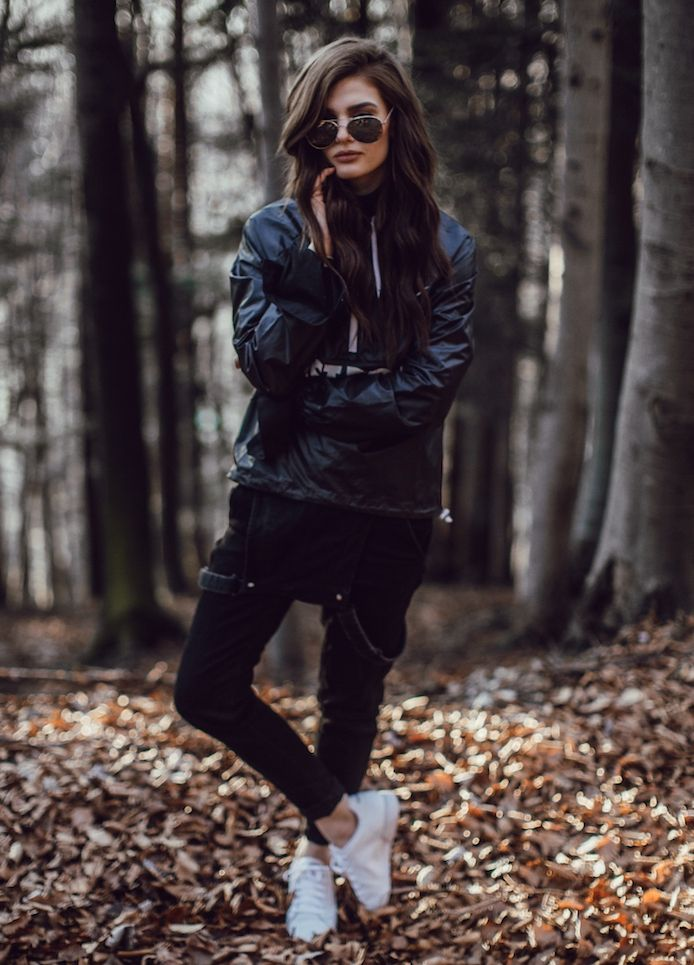 overalls with jacket and sneakers