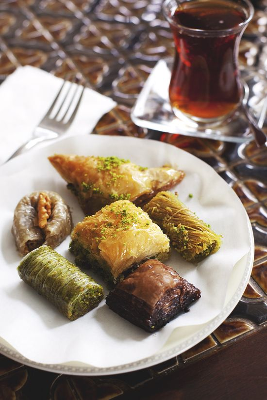 Baklava (Turkey). 'One of the most delicate desserts on the planet, baklava is carefully crafted from gossamer-thin sheets of yufka (filo pastry). Fold in a filling of finely chopped pistachio or walnuts, layer with melted butter and drown the whole shebang in syrup to create a mid-afternoon snack perfect with a robust Turkish coffee.' http://www.lonelyplanet.com/turkey