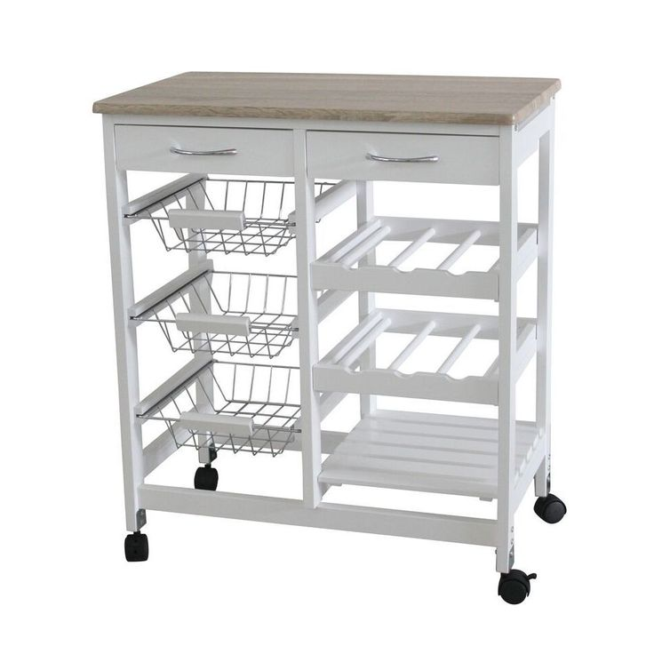 Home Basics 3 Basket Kitchen Cart With 2 Drawers And Wine
