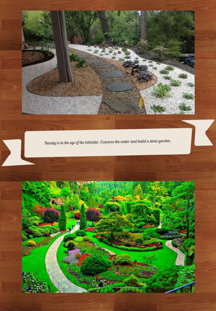 People love gardens and one of the biggest uses of water goes to irrigation. Over in Asian people have rock gardens which is pretty in itself but also keeps irrigation down to a minimum. However, big gardens like the picture on the bottom of this pin need lots of water. Even if we used drip irrigation it would use still a lot to just keep it at the luscious green look it has now. A stone garden would help save water and it would still be a beautiful sight to look at.