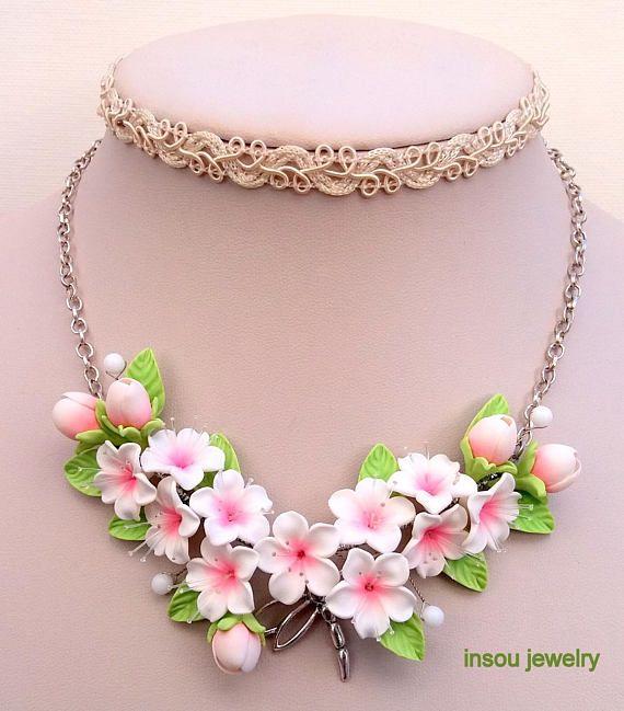 Flower Necklace Sakura Necklace Statement NecklaceSakura
