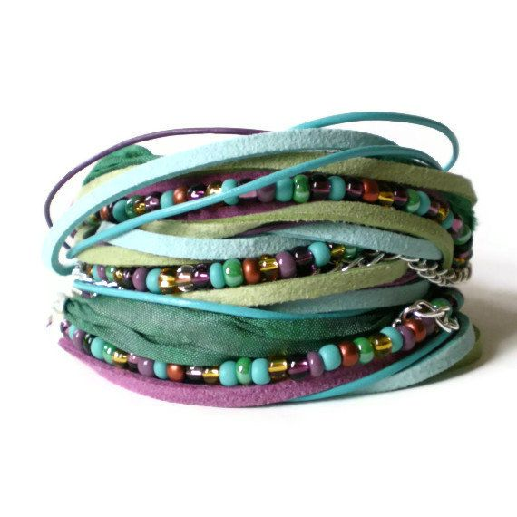 boho leather wrap bracelet, ribbon, suede, purple, green, seed beads, aqua, rocker, triple wrap on Etsy, $31.81