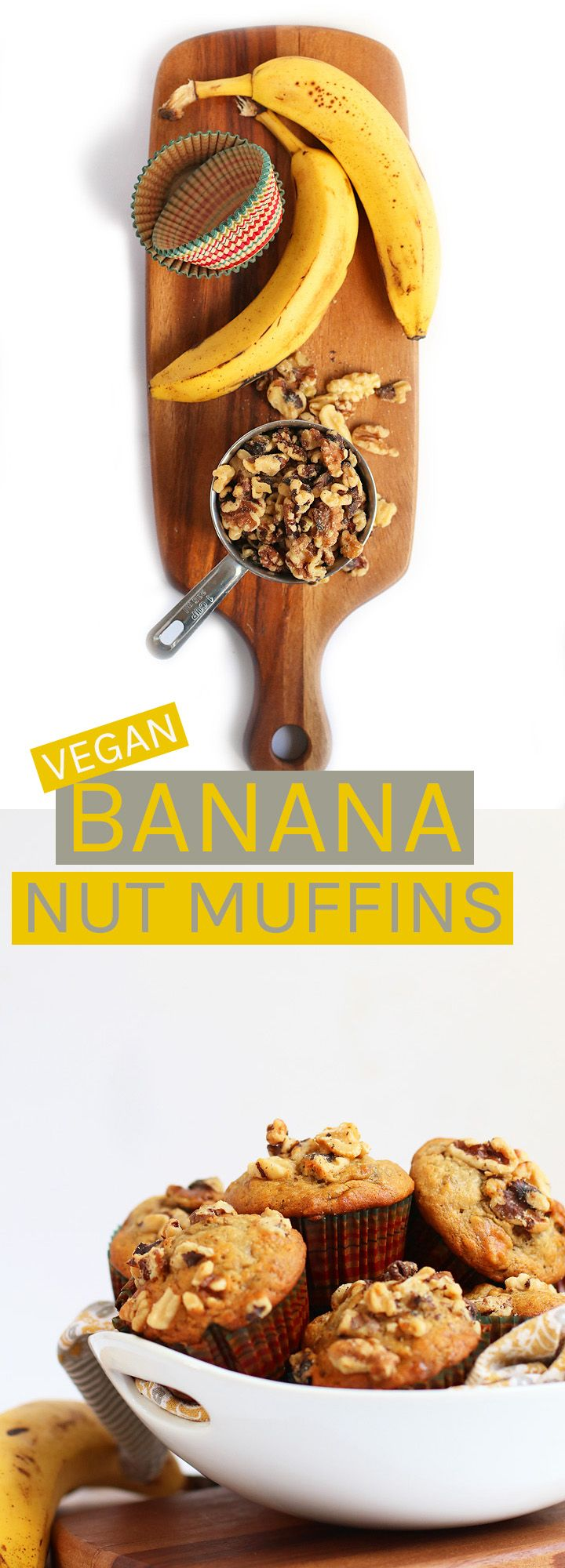 Wake up with these perfectly spiced and incredibly moist vegan Banana Nut Muffins.