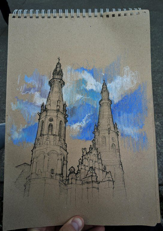 Church Of The Holiest Savior In Warsaw Ink Pastel 21x29 Cm