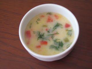Yoğurtlu Sebze Çorbası * 1 adet orta boy patates * 1 adet kabak * 1 adet kırmızı biber * 6-7 adet yeşil biber * 3 çorba kaşığı tepeleme un * 3 çorba kaşığı yoğurt * 1 çay bardağı süt * 6 su bardağı et suyu veya su * üzerine süslemek için kuru nane veya deteotu