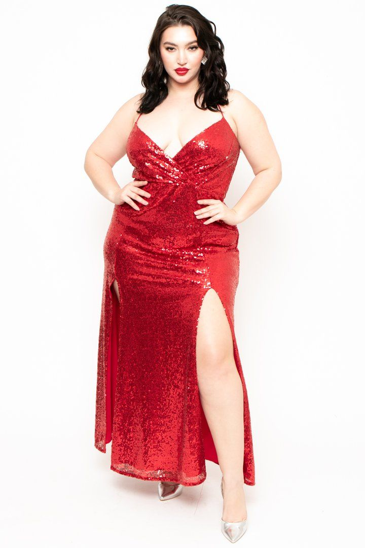 Plus Size Lady In Red Sequins Dress - Red in 2020 | Red ...