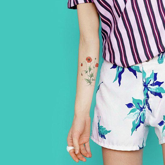 Tatuaggio temporaneo del papavero / rosso fiore tatuaggio