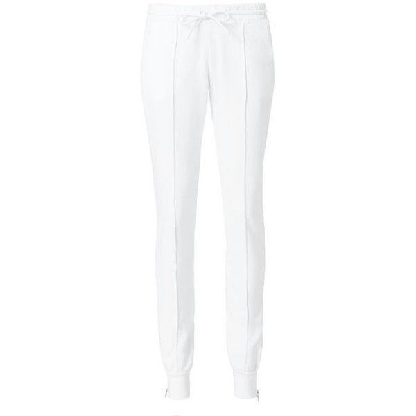 Cotton Citizen Milan Zip Detail Jogger Pants ($225) ❤ liked on Polyvore featuring pants, white, white cotton pants, jogger pants, cotton citizen, white trousers and cotton trousers