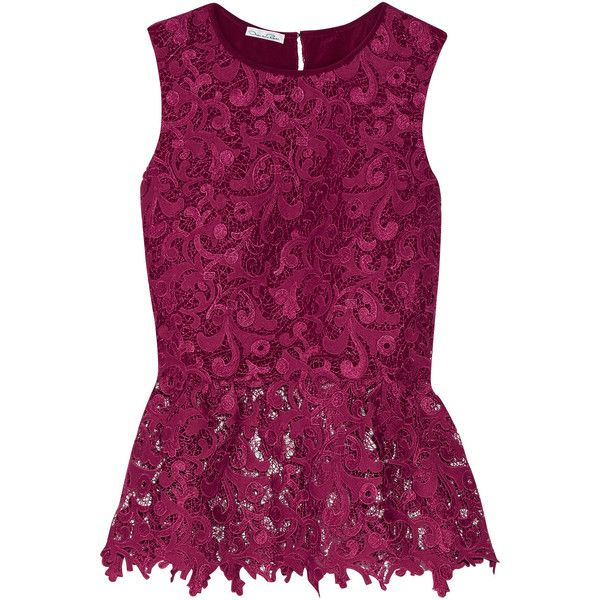 Oscar de la Renta Guipure lace peplum blouse ($1,565) ❤ liked on Polyvore featuring tops, blouses, plum, sheer blouse, see through blouse, lace peplum top, sheer lace blouse and purple lace top