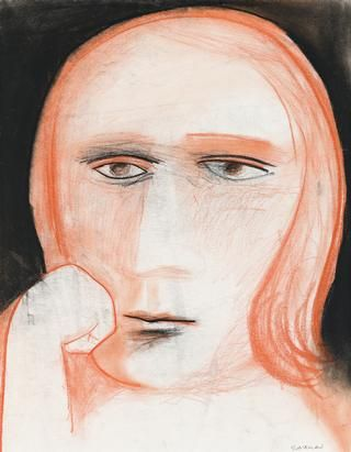 Charles Blackman ~ Girl Thinking, c.1962 (charcoal and conte on paper)