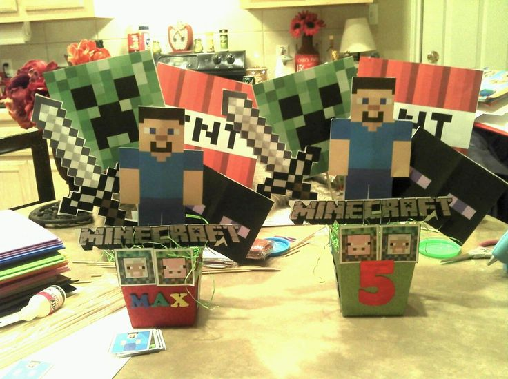 Minecraft Centerpieces Birthday Ideas Minecraft