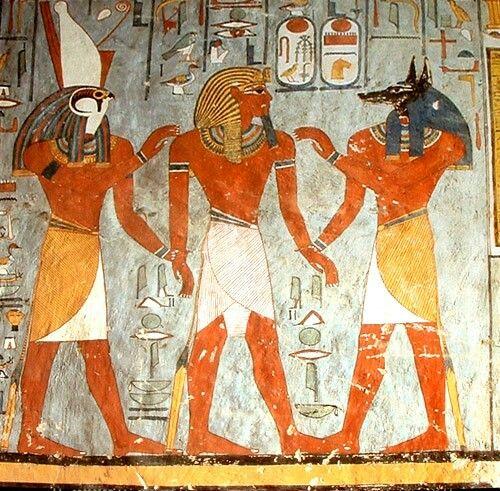 Anubis mural de arte egipcio representando a un fara n en for Egyptian fresco mural painting