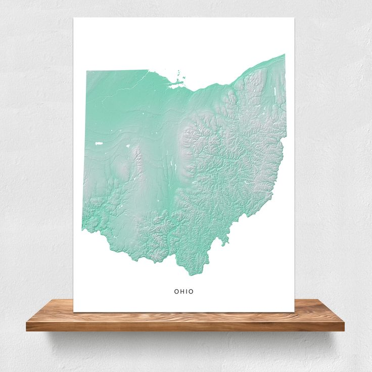 North American Eca Map%0A Ohio state landscape map print in aqua by Maps As Art
