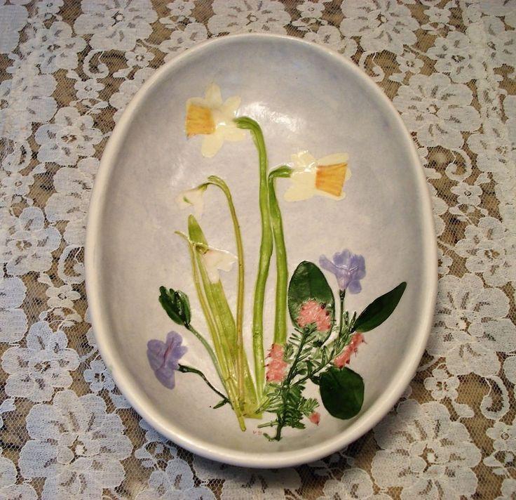 Salt Marsh Pottery Dartmouth MA Daffodil Snowdrop & Vinca oval bowl   eBay