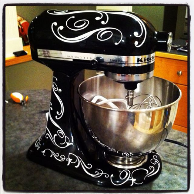 Kitchen Aide with wall decals from Uppercase Living.  http://stacyshaeffer.uppercaseliving.net  @Michelle McKechnie Damron (FROSTING ~ Cakes & Cookies))