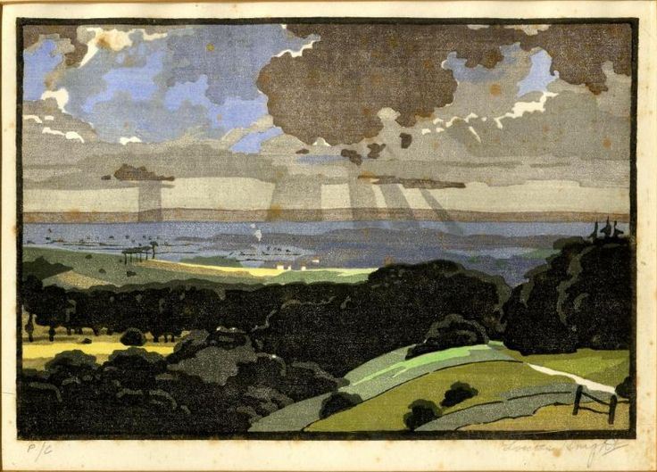 The Vale of Pewsey by Edward Loxton Knight, woodblock print
