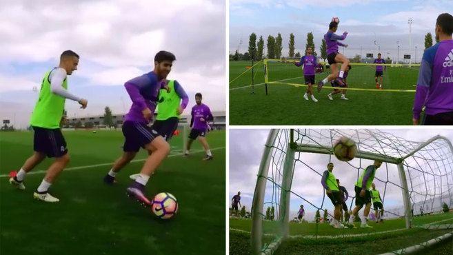 Real Madrid: Alucina con la magia de un entrenamiento del Madrid en primera persona: ¡Asensio a otro nivel! | http://www.marca.com/futbol/real-madrid/2017/08/31/59a80efb468aeb88128b45c0.html