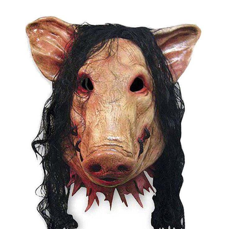 Maske Schwein, Schweinemaske Latex Maske Schwein mit Haaren für Halloween-Festival-Party