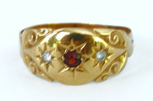 Antique Victorian Ladies Ruby & Spinel Trilogy Gypsy Engagement Ring in 18ct Yellow Gold FREE POSTAGE Included by GloryBeVintageWares on Etsy