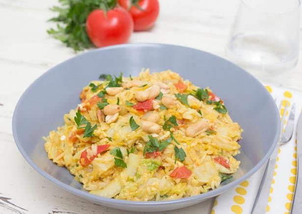 Receptenarchief Gebakken rijst met ei, Chinese kool en knapperige pinda's  in de 5-maaltijdenbox en Veggiebox Recept