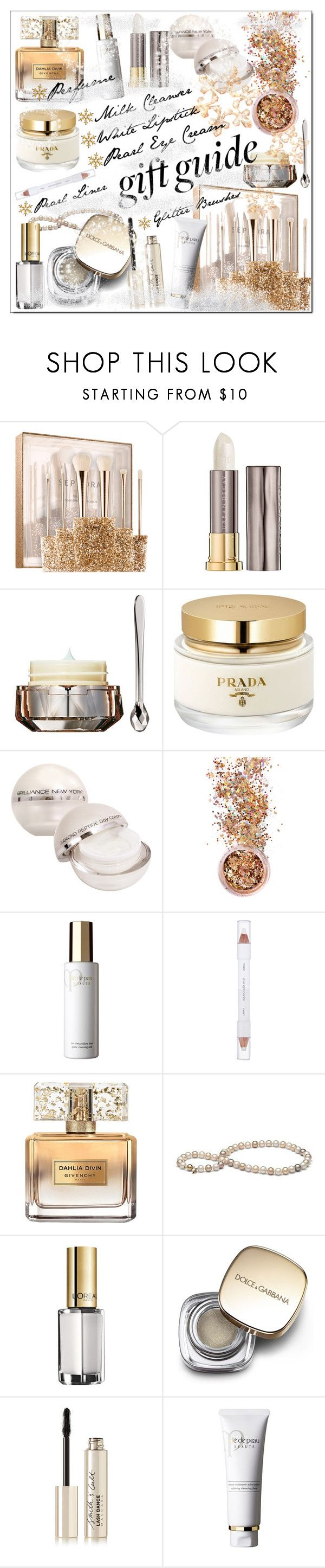 """""""Holiday Gift Guide * Beauty Faves"""" by calamity-jane-always ❤ liked on Polyvore featuring beauty, Sephora Collection, Urban Decay, Clé de Peau Beauté, Prada, Brilliance New York, In Your Dreams, shu uemura, Givenchy and L'Oréal Paris"""
