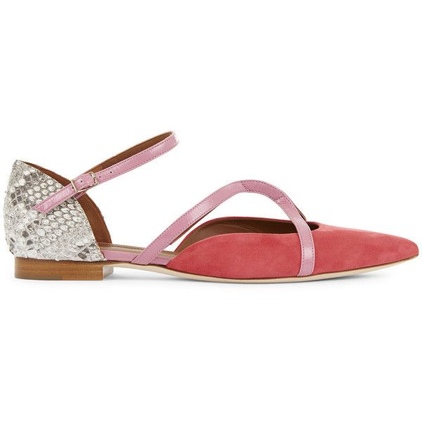 Malone Souliers Strawberry Suede Veronica Pointed Flats (€610) ❤ liked on Polyvore featuring shoes, flats, suede shoes, embellished flats, flat pointy shoes, snake print flats and pointy-toe flats
