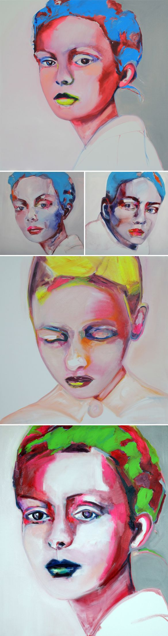 strange, vibrant, beautiful! These large-scale blue & yellow lipped faces are the work of Patricia Derks via the jealous curator
