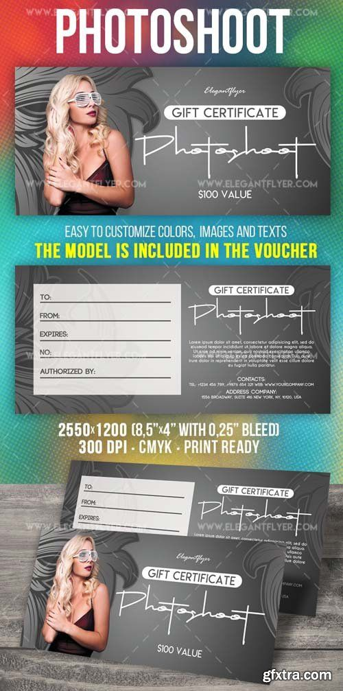 Photoshoot Gift V2 2018 Certificate Template Photoshop Pinterest