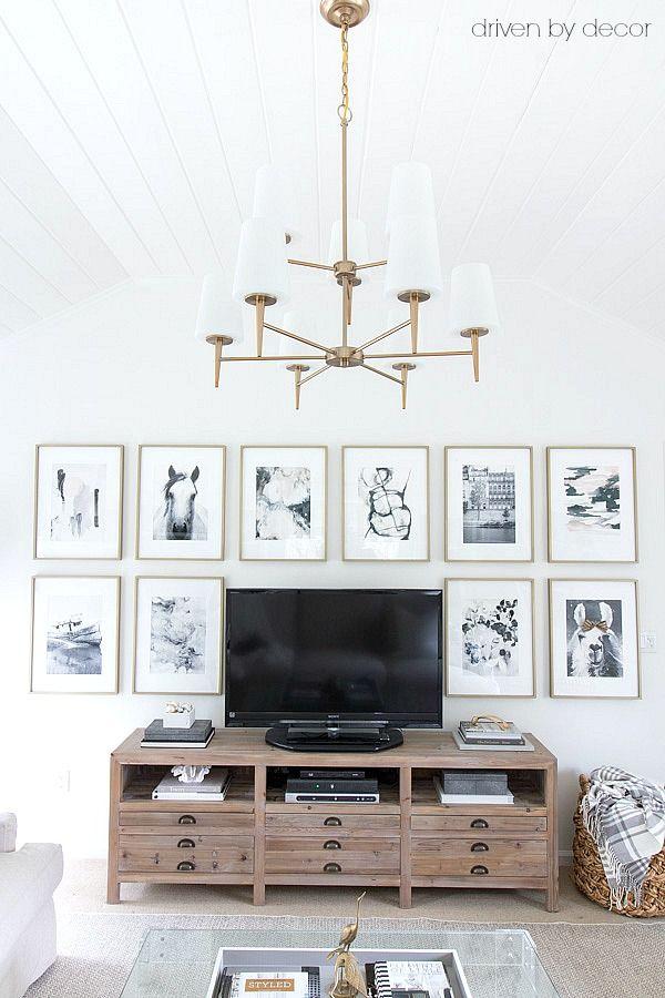 Grande ideia para decorar em torno da TV - cópias da arte em grande escala emaranhado em quadros de bronze