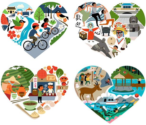 Taiwan tourism campaign illustrations by winkreative