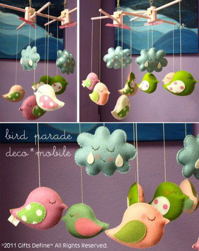 Musical Mobile BIRD PARADE with Your Own Custom Colors -  Hanging Baby Mobile for Modern Nursery, Crib or Playroom (listing for one mobile)