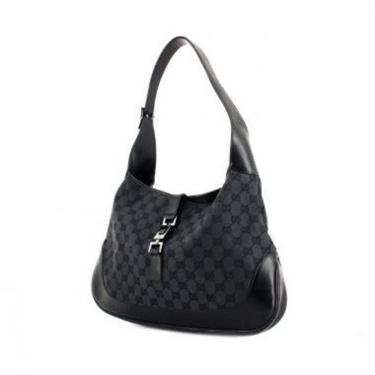 GUCCI Monogram GG Jackie O Black Gucci Jackie   #112134-This is a guaranteed authentic Gucci Jackie O Hobo. This is made out of the classic monogram gg canvas in black and has black leather handles, base, and trim. This also has the signature red & green stripe down the center of the bag. The buckle and push lock are a silver tone hardware. The interior has brown textile lining and features a zipper pocket.