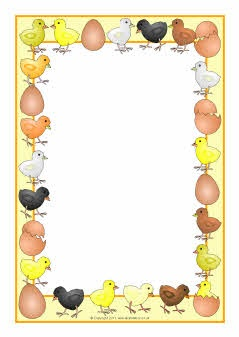 Chicks and eggs A4 page borders (SB4514) - SparkleBox