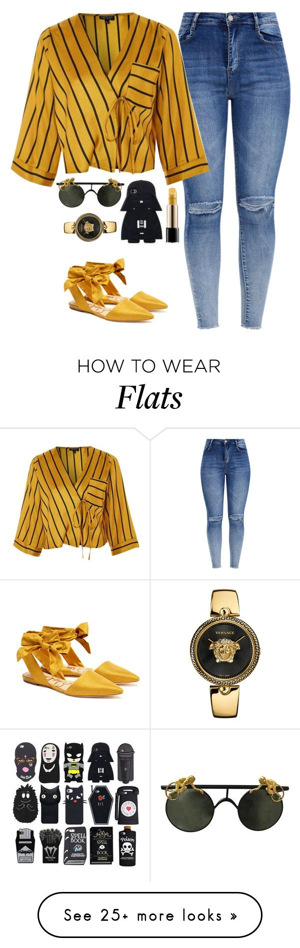 """""""Catching Fireflies"""" by quonton on Polyvore featuring Topshop, Lancôme, Versace and Sam Edelman"""
