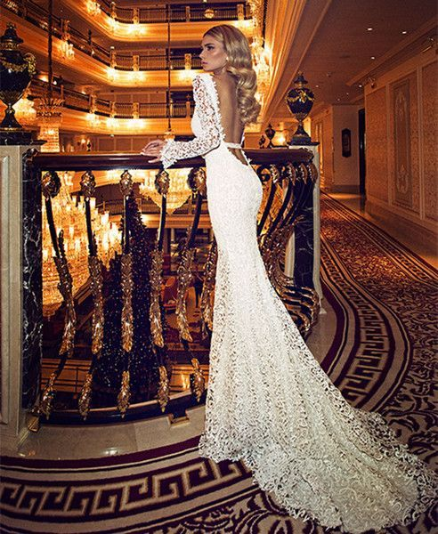 Wholesale Dimitrius Dalia 2015 Sping Sexy Lace Sheath Wedding Dresses with Deep V Neck Open Back Long Sleeves Backless Ribbon Court Train Bridal Gowns, Free shipping, $137.67/Piece | DHgate Mobile
