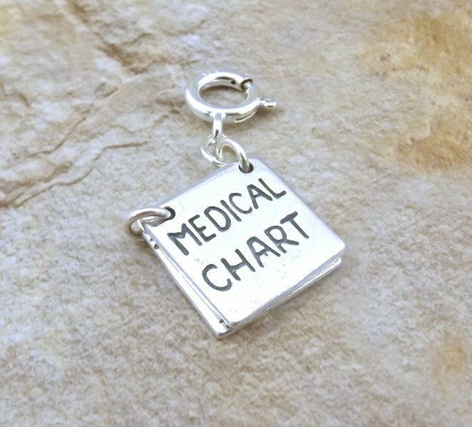 Sterling Silver MEDICAL CHART that OPENS on Spring Ring fits Charm