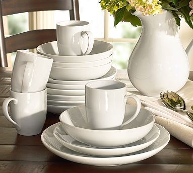 Great White Coupe Dinnerware #potterybarn  The dinner plates, salad plates and soup bowls, not the mugs. $36 for 4 dinner plates; $28 for 4 salad plates; $28 for 4 soup bowls; $102 for 16 piece set w/the mugs.