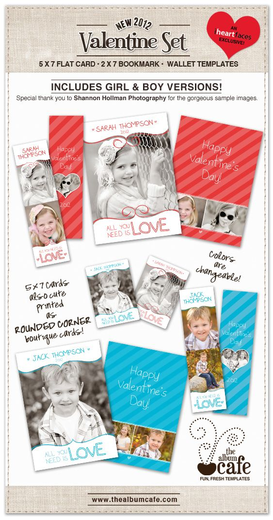 FREE Valentines Day Photoshop Templates. Cute photo cards and bookmarks. #photography #valentine