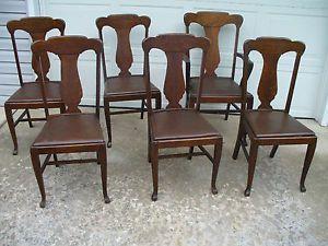 Set of 6 Heywood Brothers Wakefield Company Oak Kitchen Chairs