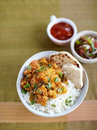 Pumpkin chickpea curry - delicious even with powdered versions of the curry and spices. Half recipe makes 5 servings.