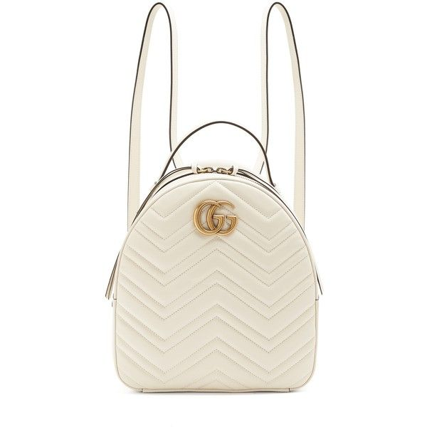 Gucci GG Marmont quilted-leather backpack (6.100 BRL) ❤ liked on Polyvore featuring bags, backpacks, white backpacks, chevron backpack, gucci bags, day pack rucksack and gucci knapsack
