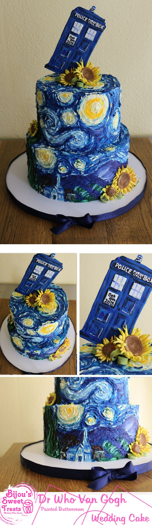 Bijou's Sweet Treats signature painted buttercream Doctor Who Van Gogh wedding cake. #weddingcake #doctorwho #VanGogh