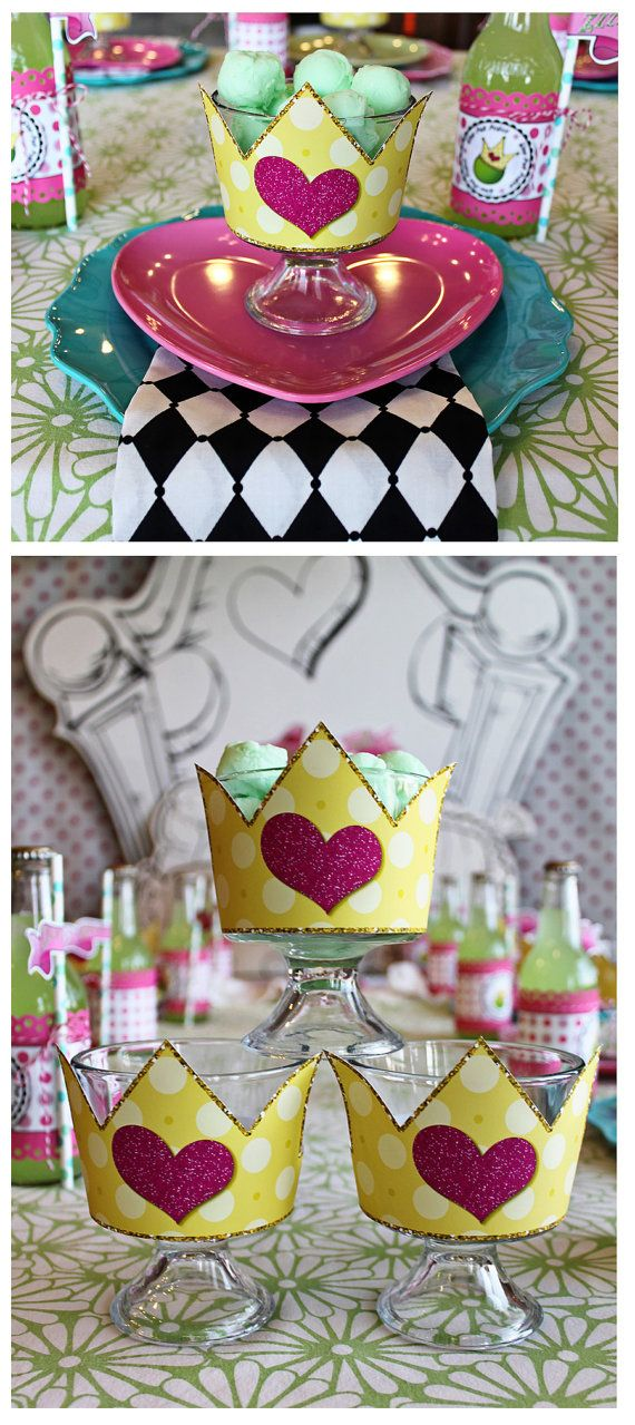 Cute Crown Dessert Dish Wraps with scoops of green sorbet! Or mint green icecream! (Princess and the pea party)
