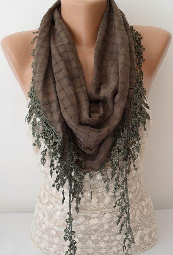 ON SALE Khaki Cotton Scarf Cowl Scarf Womens by JasmineAccessory, $15.90