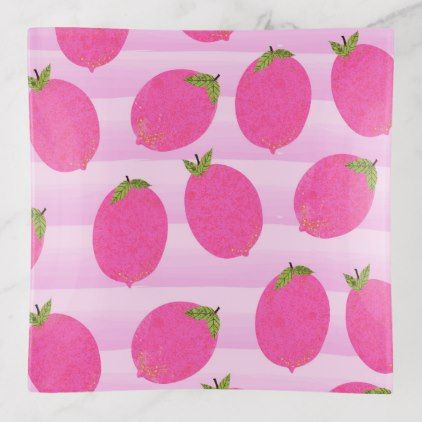 Pink Lemons Summer Fruit Watercolor Fun Bright Trinket Trays - rustic gifts ideas customize personalize