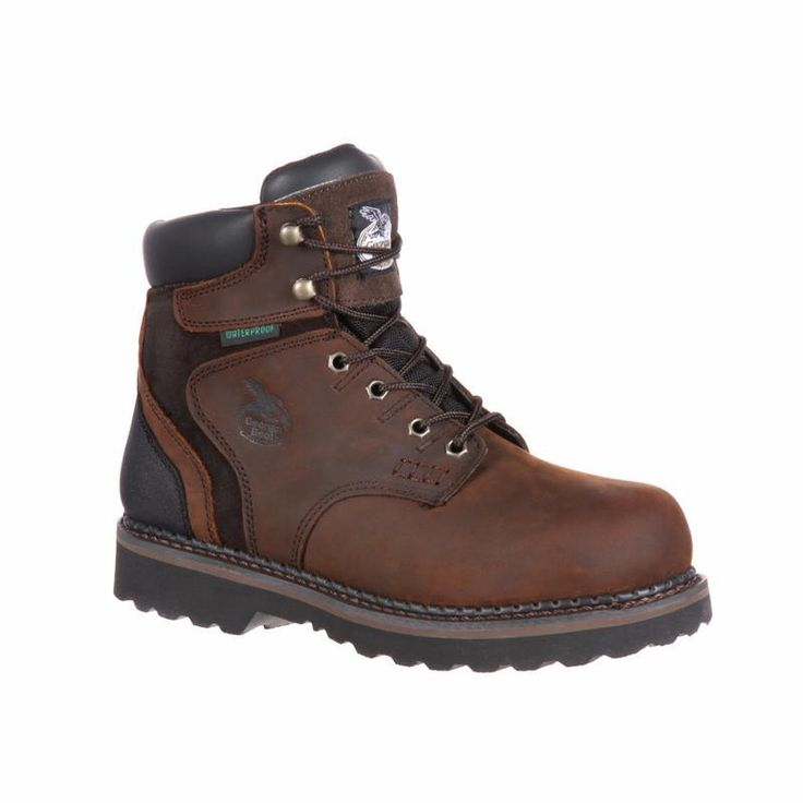 These men's Georgia Boot waterproof work boots keep your feet dry on the  job. In dark brown.
