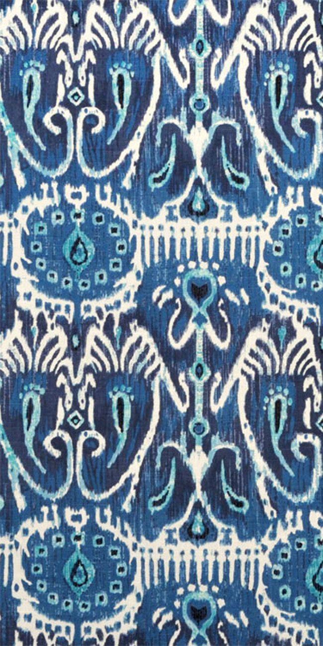 Suburban Home Cerva Navy Fabric #ikat #navy #turquoise #blue